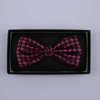 Black/pink Dogtooth Bow Tie-0