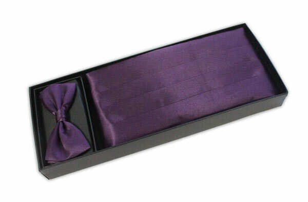 Plain Purple Cummerbund and Bow Tie Set-0