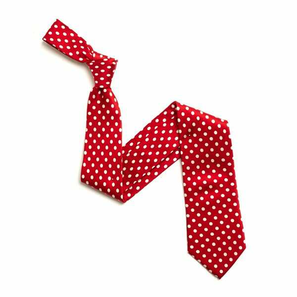 RED/WHITE SMALL POLKA DOTS SILK TIE-0