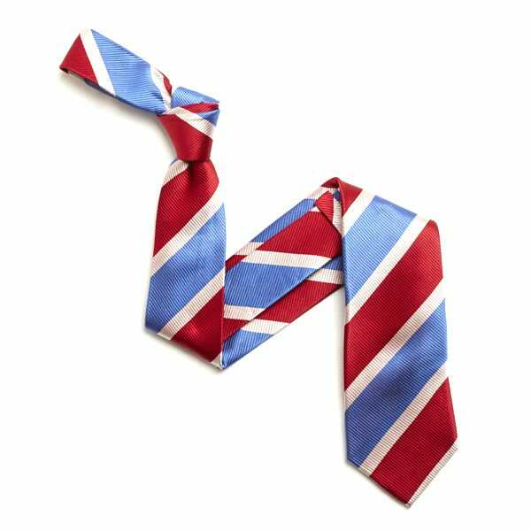 RED/WHITE AND SKY BLUE BOLD DIAGONAL STRIPE SILK TIE-0