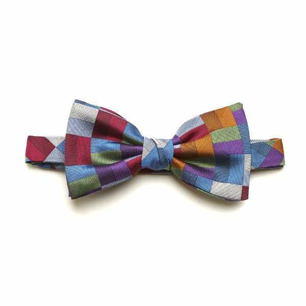Red/Blue/Orange Block Silk Bow Tie-0