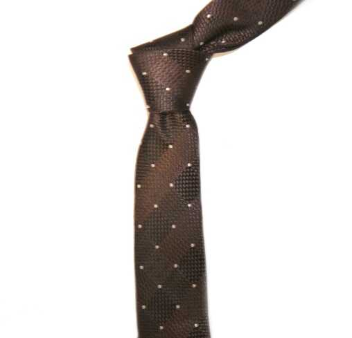 BROWN/WHITE DOTS AND DIAMONDS SKINNY TIE-0