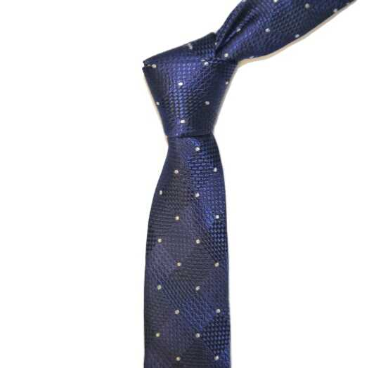 French NAVY/WHITE DOTS AND DIAMONDS SKINNY TIE-0