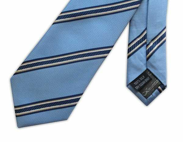 SKY BLUE WITH NAVY AND WHITE STRIPES WOVEN SILK TIE-0