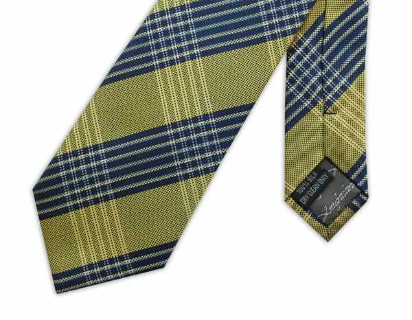 NAVY/YELLOW LARGE CHECK WOVEN SILK TIE-0