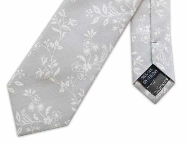 GREY/WHITE SMALL FLORAL WOVEN SILK TIE-0