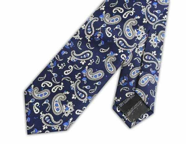 French Navy/white busy paisley silk tie -0