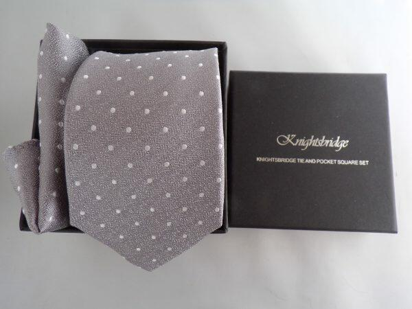 SILVER SPOTTED WEDDING TIE AND POCKET SQUARE SET