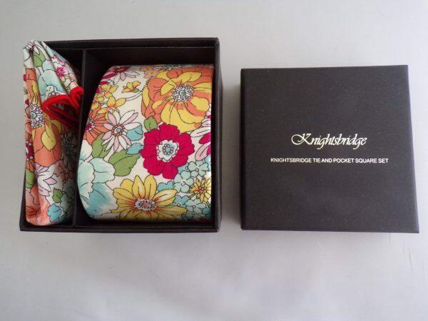 YELLOW / TEAL FLORAL WEDDING TIE AND POCKET SQUARE SET