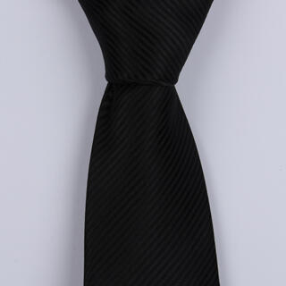 BLACK PINSTRIPES POLYESTER TIE-0