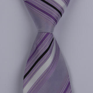 LILAC/WHITE DIAGONAL STRIPES POLYESTER TIE-0