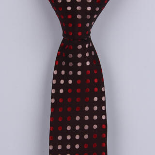 BROWN/PINK/RED POLKA DOTS POLYESTER SKINNY TIE-0