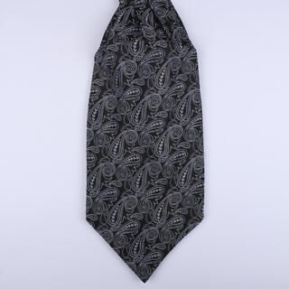 Black/Grey Paisley Poly Self-Tie Cravat-0