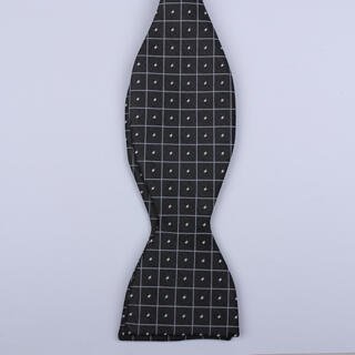 Black/White Grid Dots Self-Tie Bow Tie-0