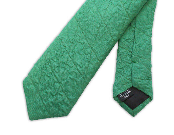 Green Skinny Silk Quilted Tie-0