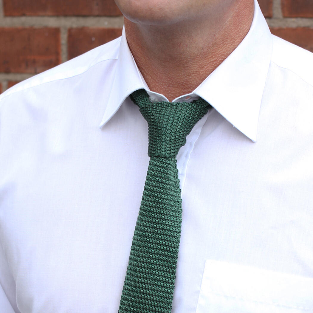 Green silk knitted tie-0