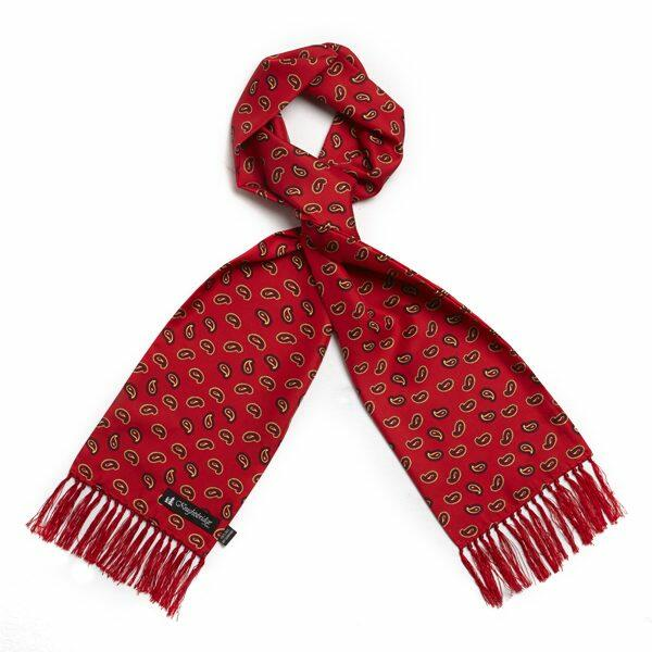 Red Paisley Silk Aviator Scarf-0