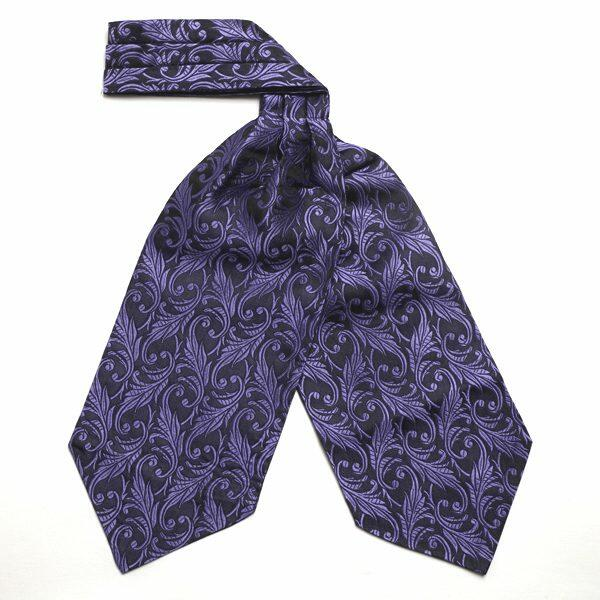 Deep Purple/black floral silk cravat-0