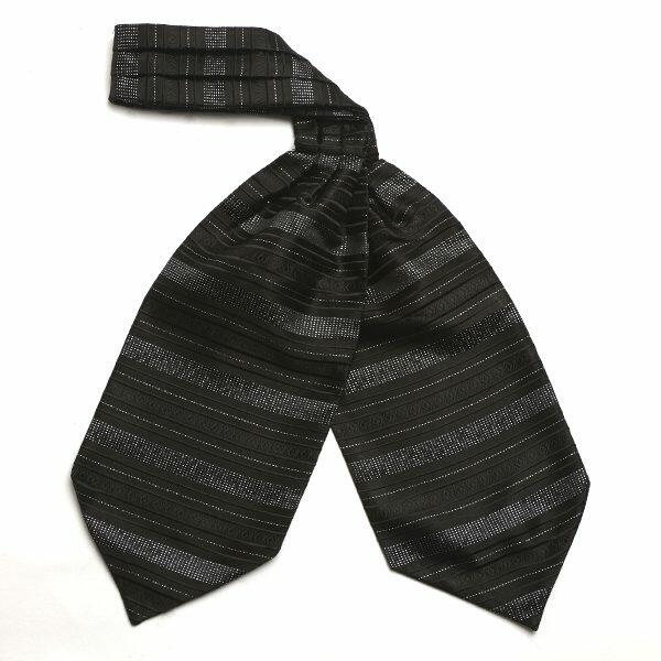 Black and Silver Gitter Silk Cravat-0