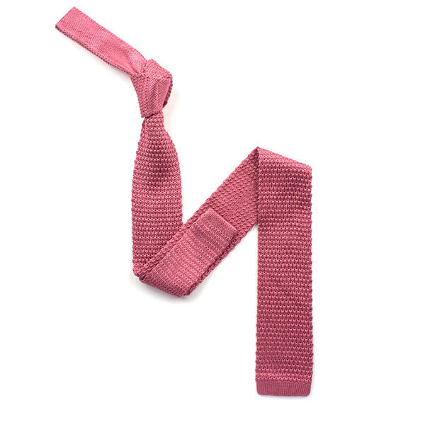 plain Pink silk knitted tie-0