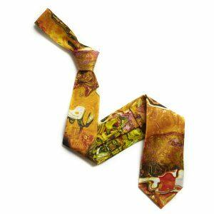 Yellow/Pink Abstract Sorrento Silk Tie-0