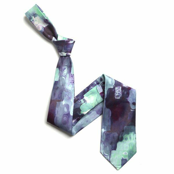 purple/Aqua Abstract Sorrento Silk Tie-0