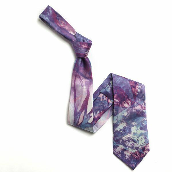 Purple Abstract Sorrento Silk Tie-0