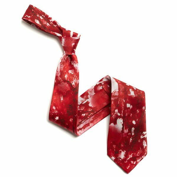 Red/White Abstract Sorrento Silk tie-0