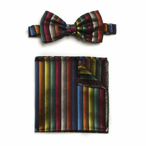 MULTI STRIPED SILK BOW WITH MATCHING POCKET SQUARE-0