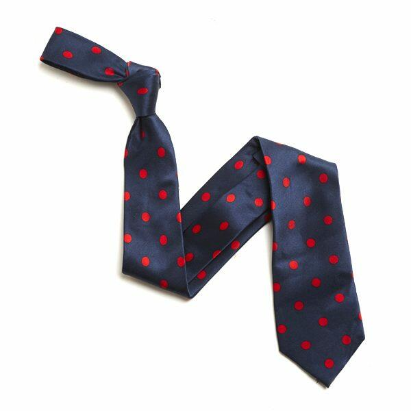NAVY/RED LARGE POLKA DOTS SILK TIE-0