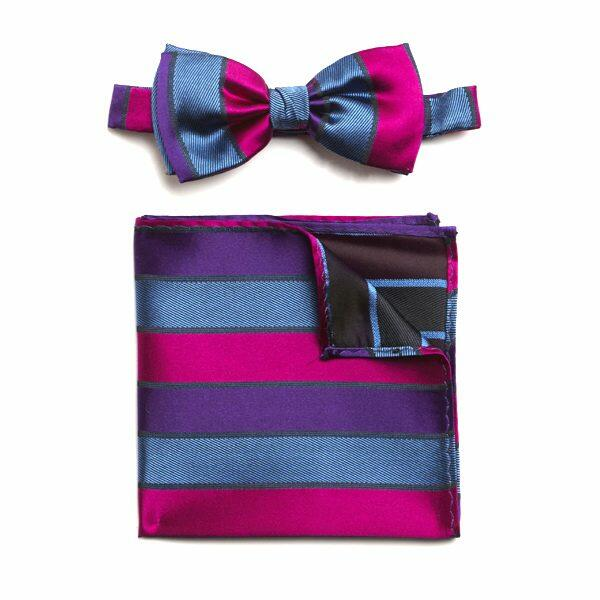 PURPLE/PINK/BLUE STRIPED SILK BOW WITH MATCHING POCKET SQUARE-0