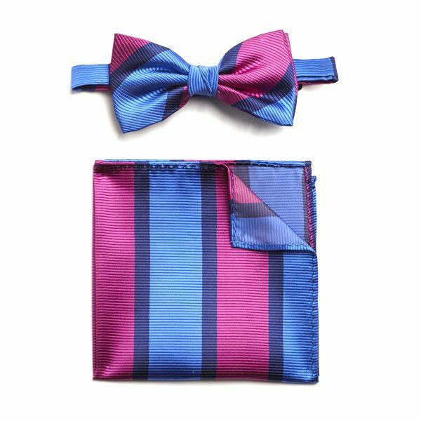 BLUE/HOT PINK STRIPED SILK BOW WITH MATCHING POCKET SQUARE-0
