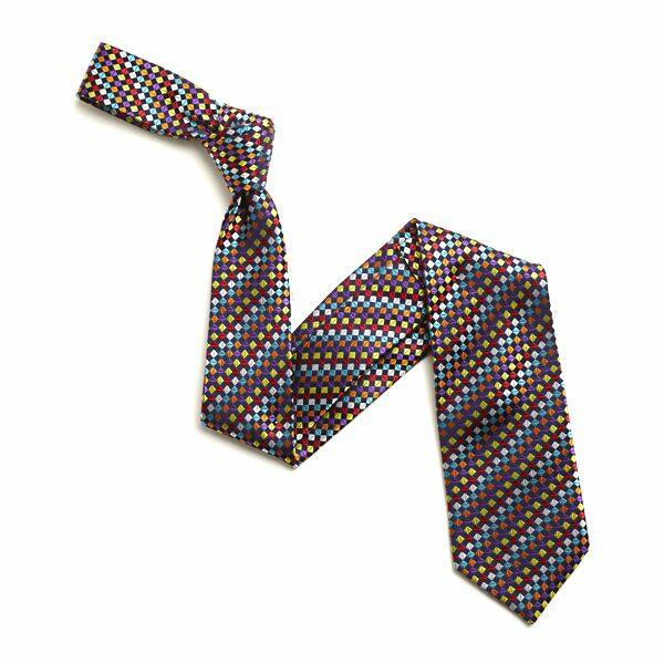 MULTI SMALL DIAMOND SILK TIE-0