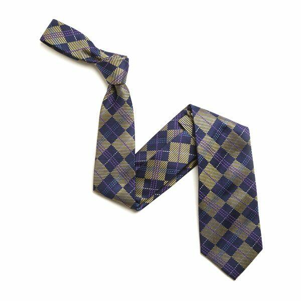 GOLD/NAVY CHECK SILK TIE-0