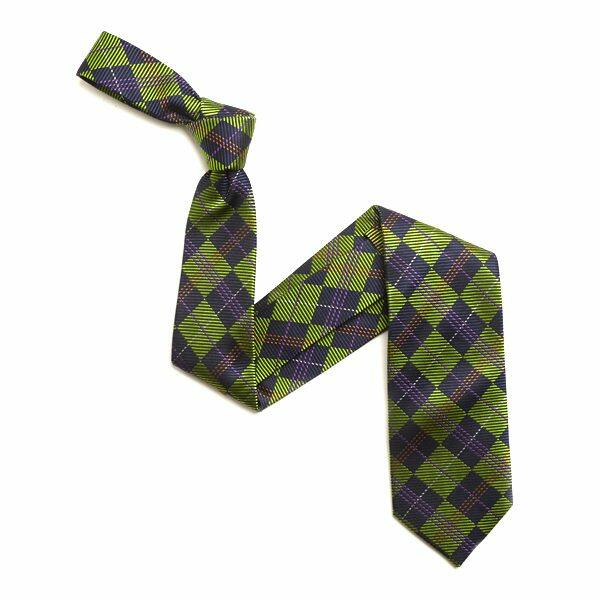 GREEN/NAVY CHECK SILK TIE-0