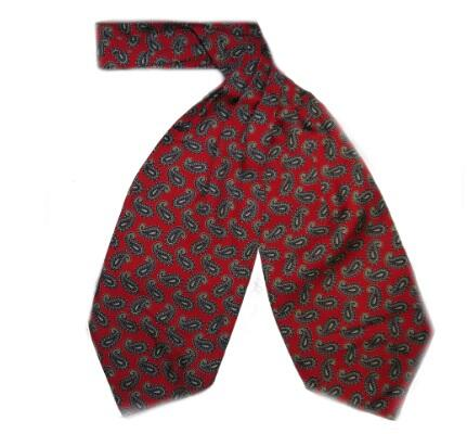 BURNT RED SMALL PAISLEY SILK CRAVAT-0
