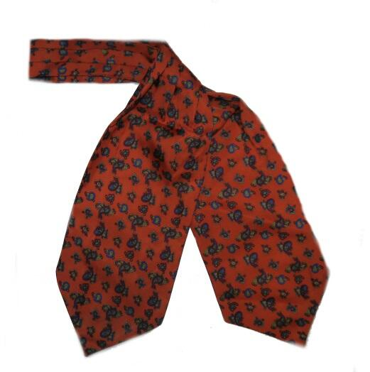 burnt ORANGE PAISLEY SILK CRAVAT-0