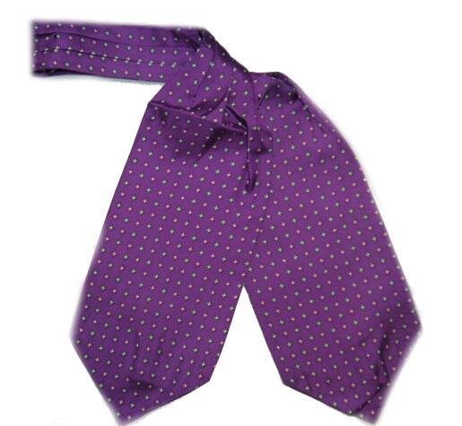 PURPLE SMALL DIAMONDS SILK CRAVAT-0