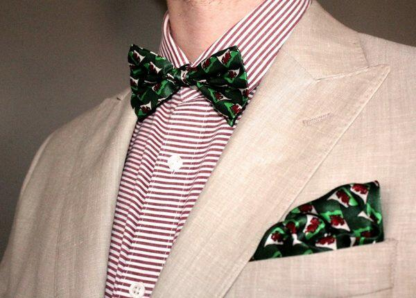 Wales Silk Bow Tie and matching Pocket Square-0