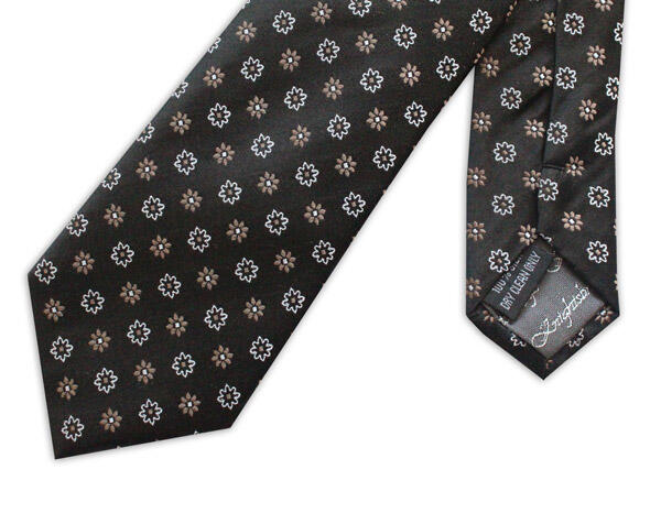 black/gold/white small flowers woven silk tie