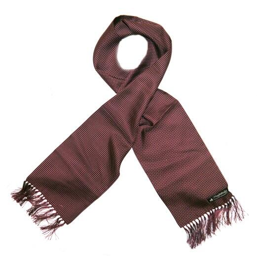 burgundy/white pin dots silk aviator scarf-0