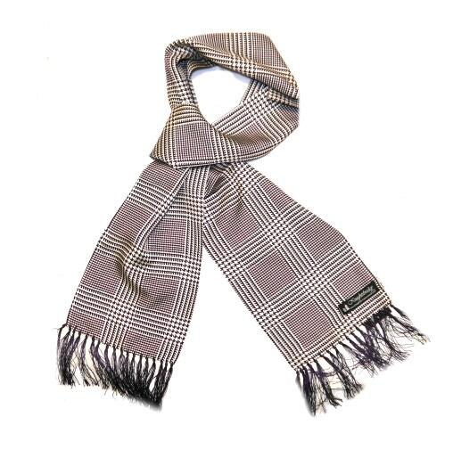 Dark purple/white houndstooth silk aviator scarf -0