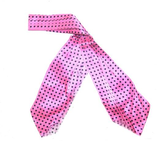 Pink/black polka dots silk cravat -0