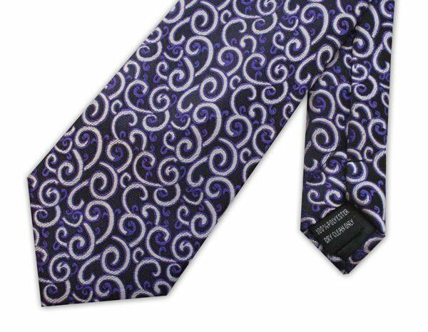 Purple swirls clip-on tie -0
