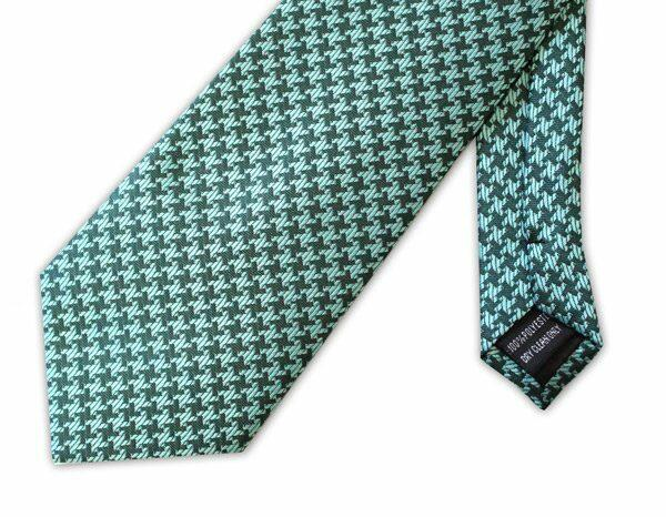 Green large houndstooth clip-on tie -0