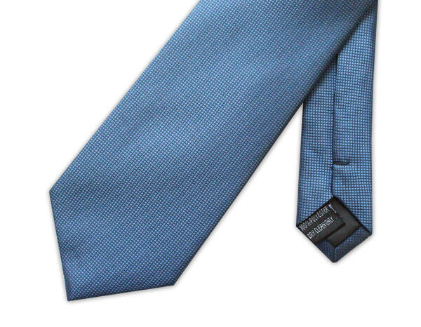 BLUE MICRO GRID XL WOVEN POLY TIE