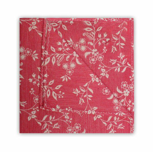 SALMON PINK/WHITE FLORAL SQUARE-0