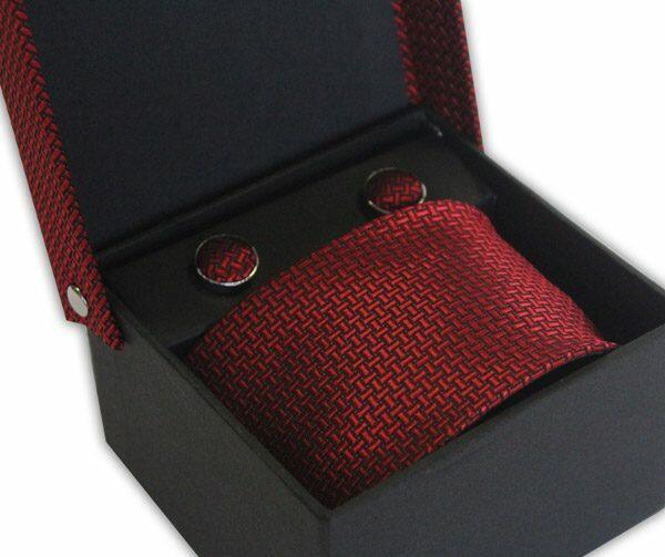 RED GEOMETRIC DESIGN TIE & CUFFLINK SET-0