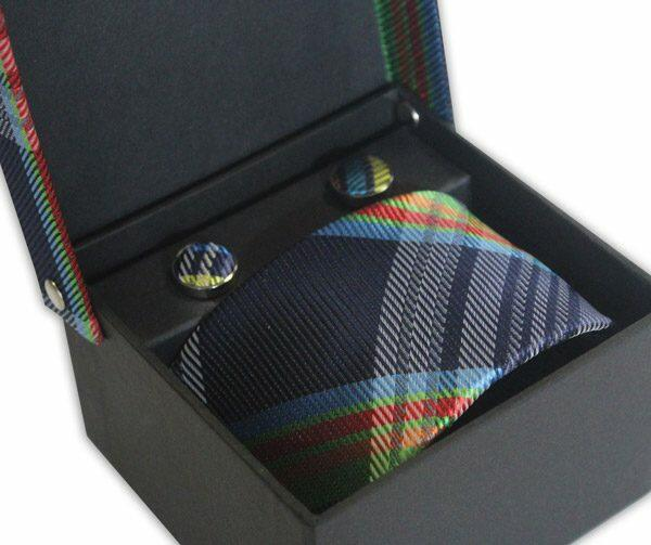 BLUE/GREEN/RED CHECK TIE & CUFFLINK SET-0