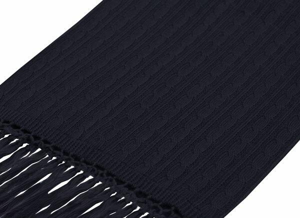 NAVY KNITTED WOOL SCARF-0